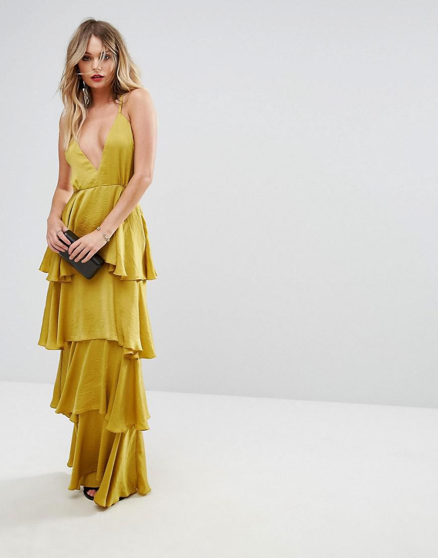 c2461d0eb414f Missguided Tiered Ruffle Maxi Dress in Yellow - Lyst