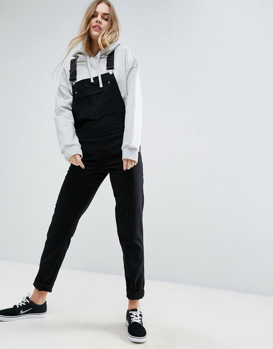 b09250f299b5 Asos 90s Style Dungarees in Black - Lyst
