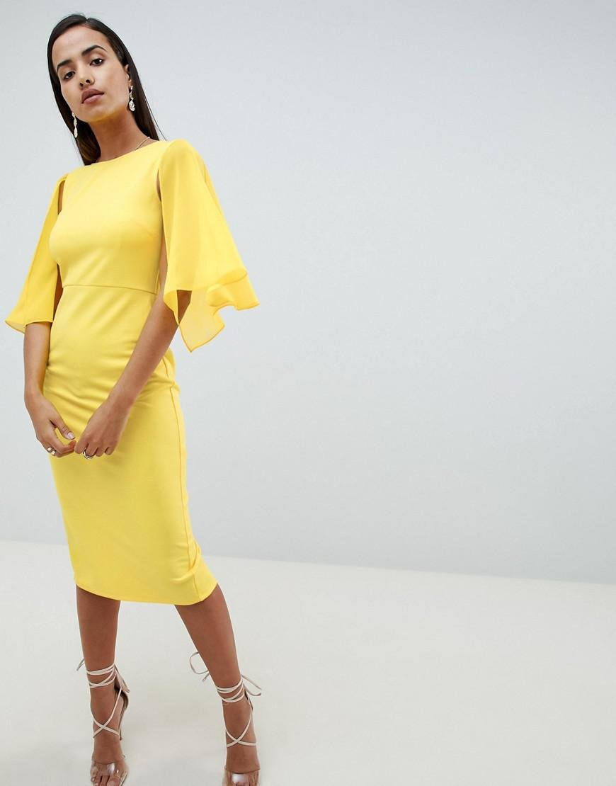 c0f9e5fe8c9a ASOS Woven Mix Cape Back Pencil Dress in Yellow - Lyst