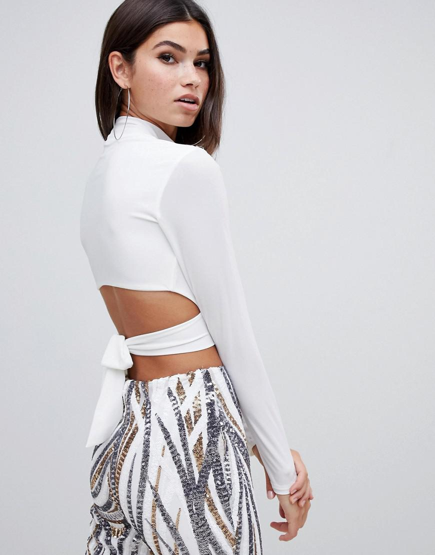 656784ed5bb07 Club L High Neck Tie Back Crop Top In White in White - Lyst