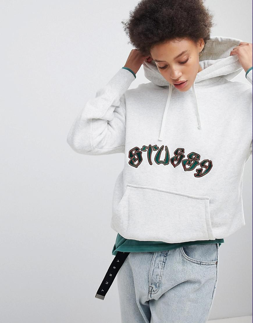 9de66c0fe6860 Stussy Oversized Hoodie With Embroidered Logo in White - Lyst