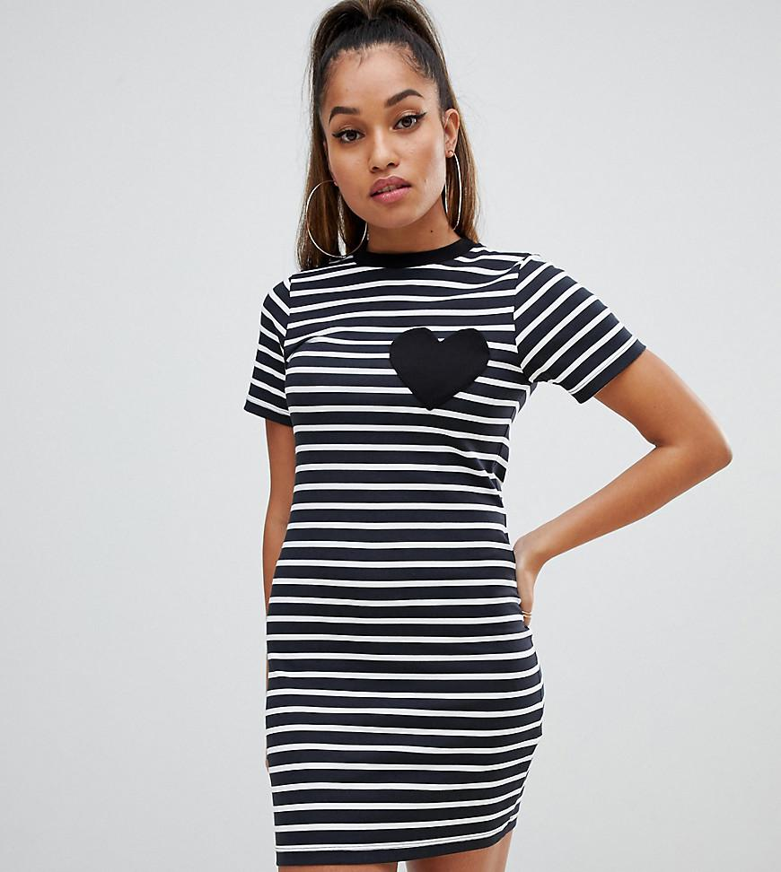 62e891ab13f ASOS Asos Design Petite Mini Bodycon Stripe T-shirt Dress With Heart ...