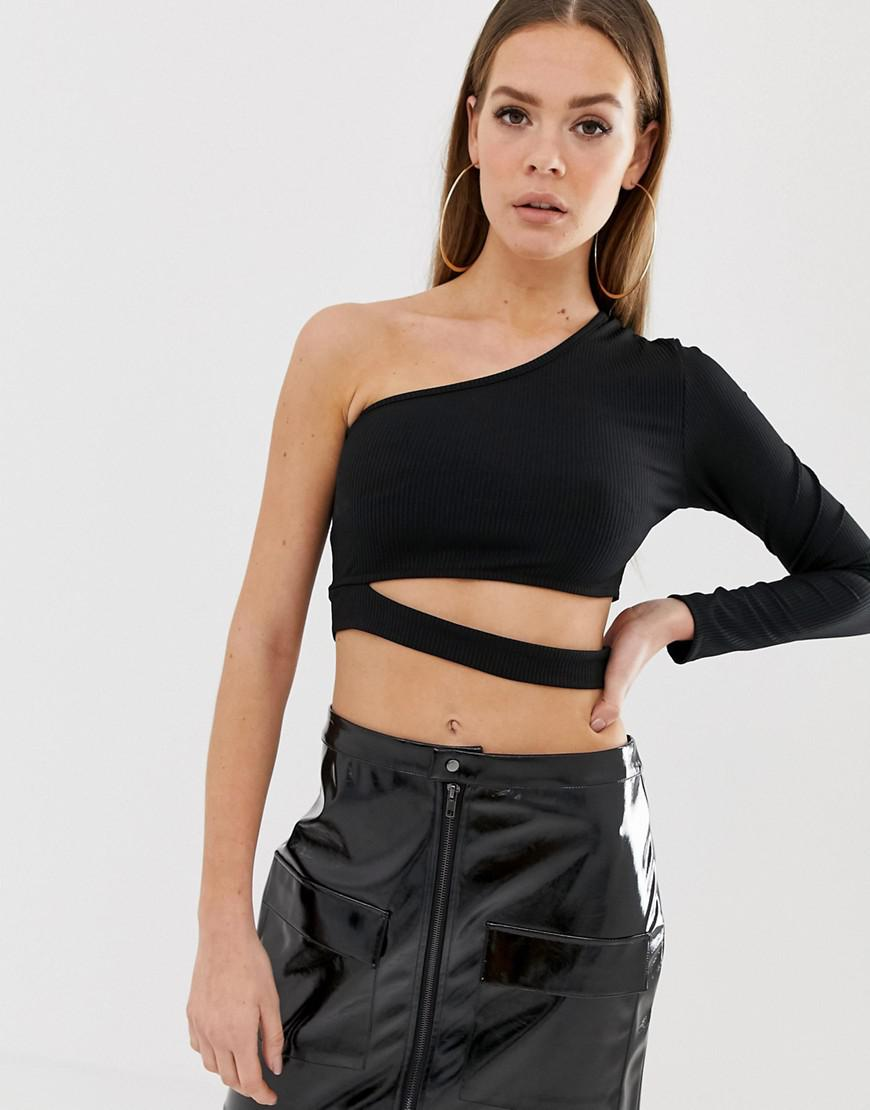70bc61522ec Lyst - ASOS Rib One Shoulder Long Sleeve Top With Cut Out In Black ...