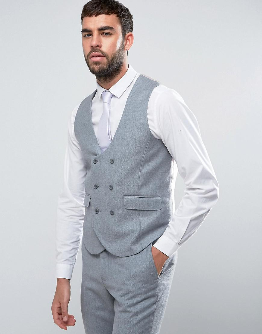 Lyst - Asos Wedding Slim Suit Waistcoat In Light Grey 100% Merino ...