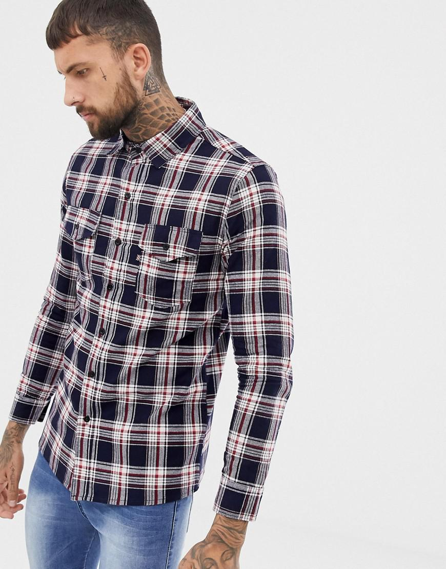 f90c3d9246 Lyst - Good For Nothing Check Shirt In Navy in Blue for Men