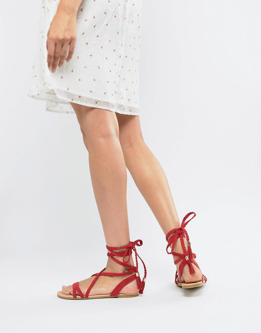 501f750c004b6 Lyst - ASOS Fayla Tie Leg Plaited Flat Sandals in Red