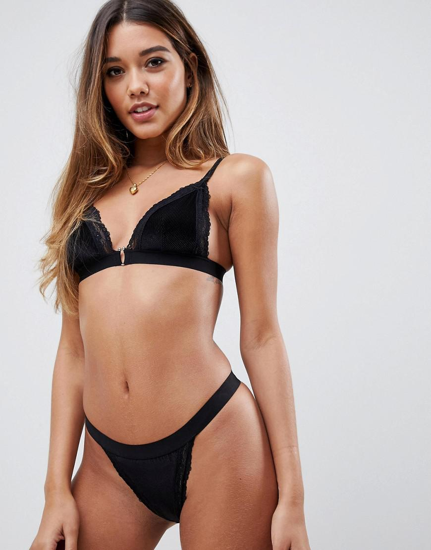 eb268632300 ASOS Emily Ribbed Velvet   Lace Triangle Bra in Black - Lyst