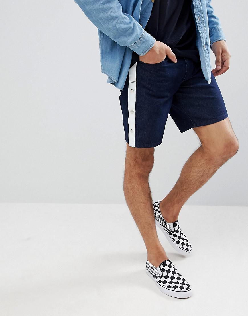 DESIGN Denim Shorts In Slim Indigo Contrast Stitch - Indigo Asos kJOemOOU