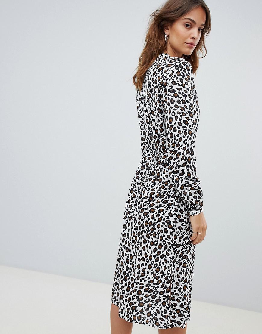 Midi Lyst Dress Leopard Vila Shirt FF6nETr