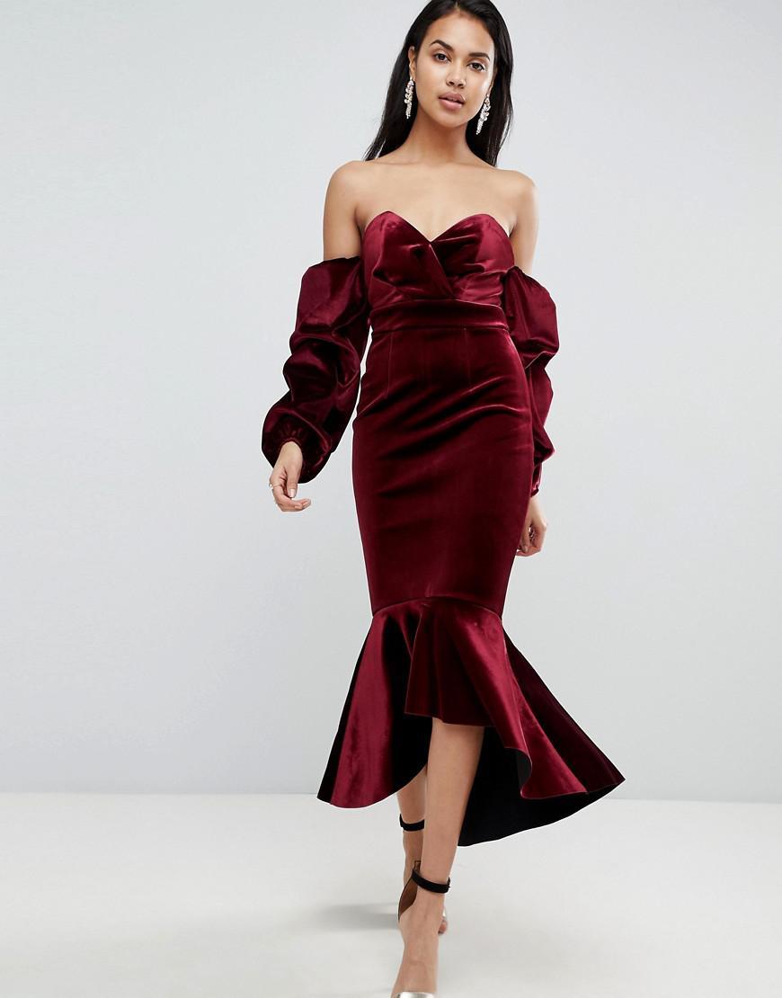 Off the shoulder fold over split midi bodycon dress