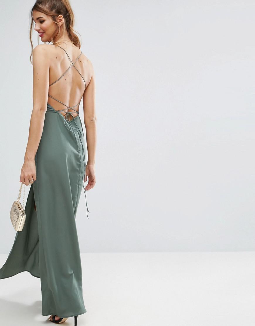 Asos plunge halter maxi dress