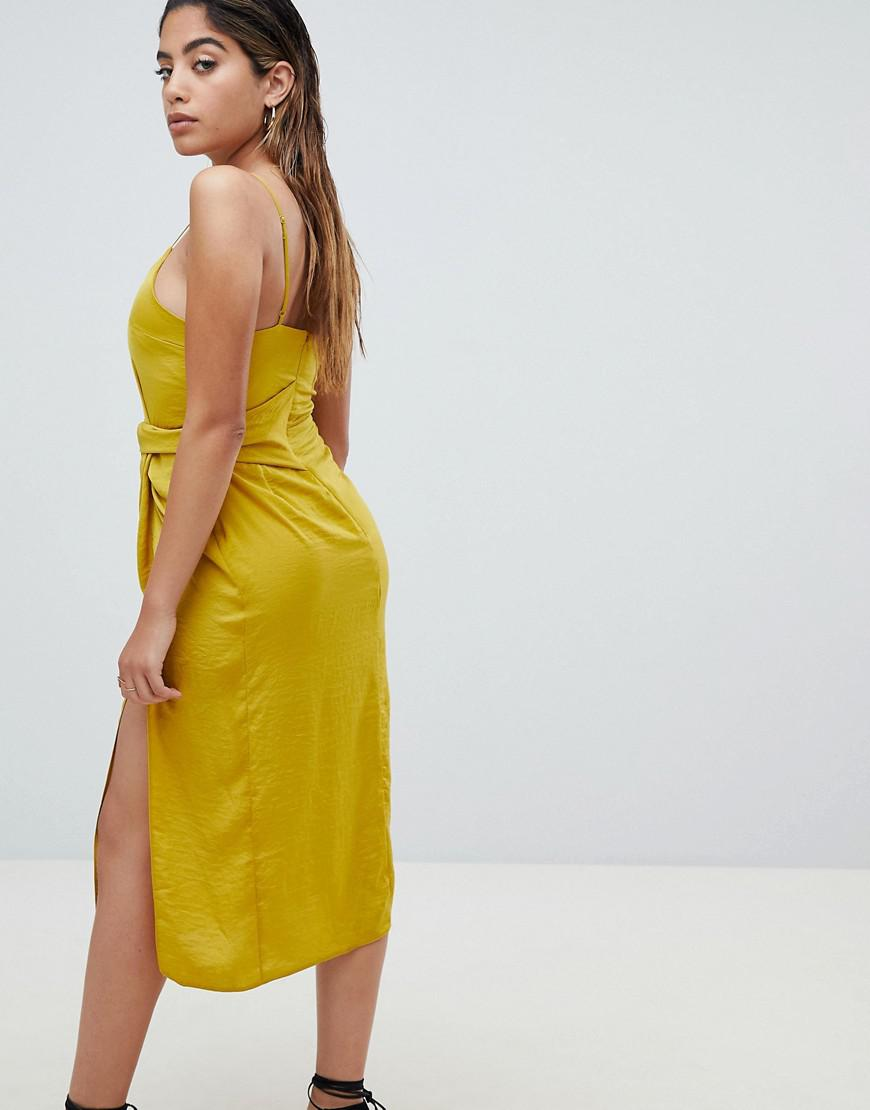 921f93ad57aa Lyst - ASOS Sexy Hammered Satin Midi Dress With Knot Side in Yellow