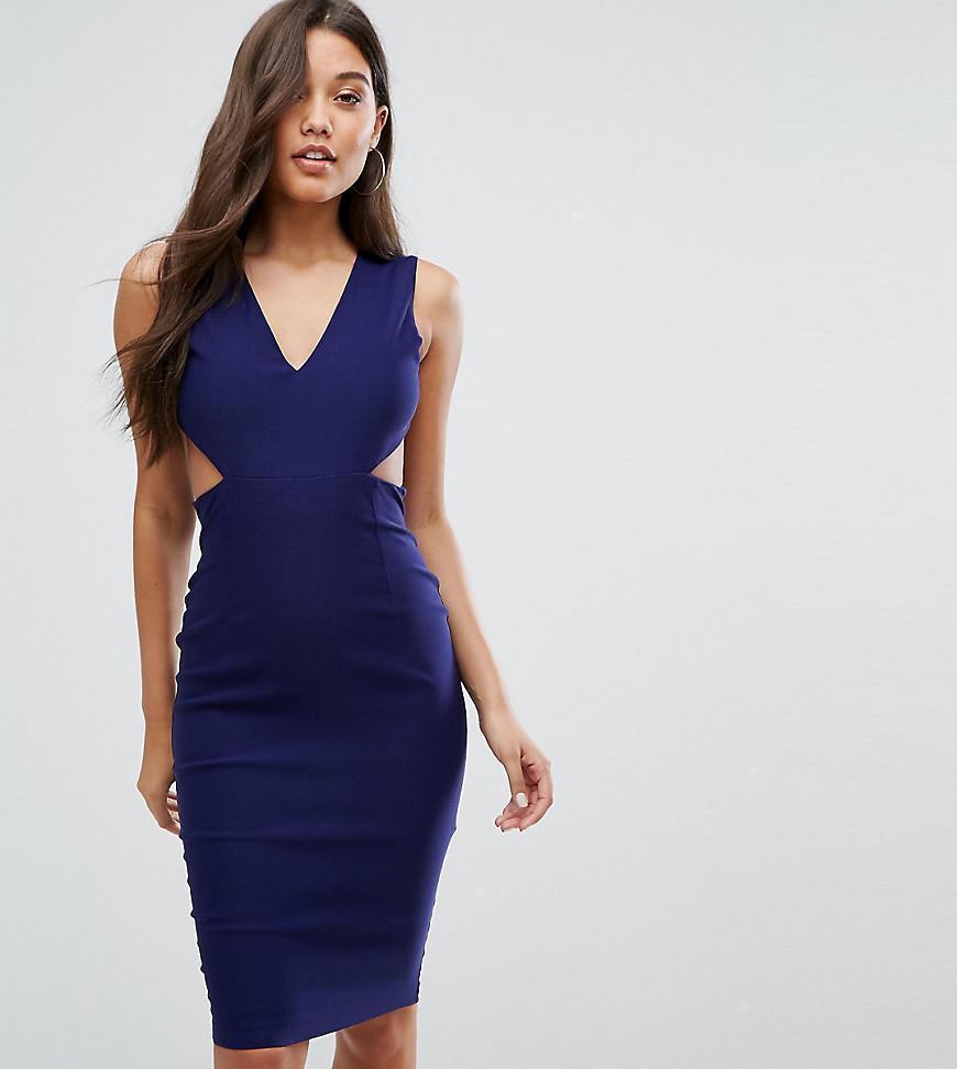 Bandeau Pencil Dress With Eyelash Lace Frill Overlay - Navy Vesper CRvyLZDt
