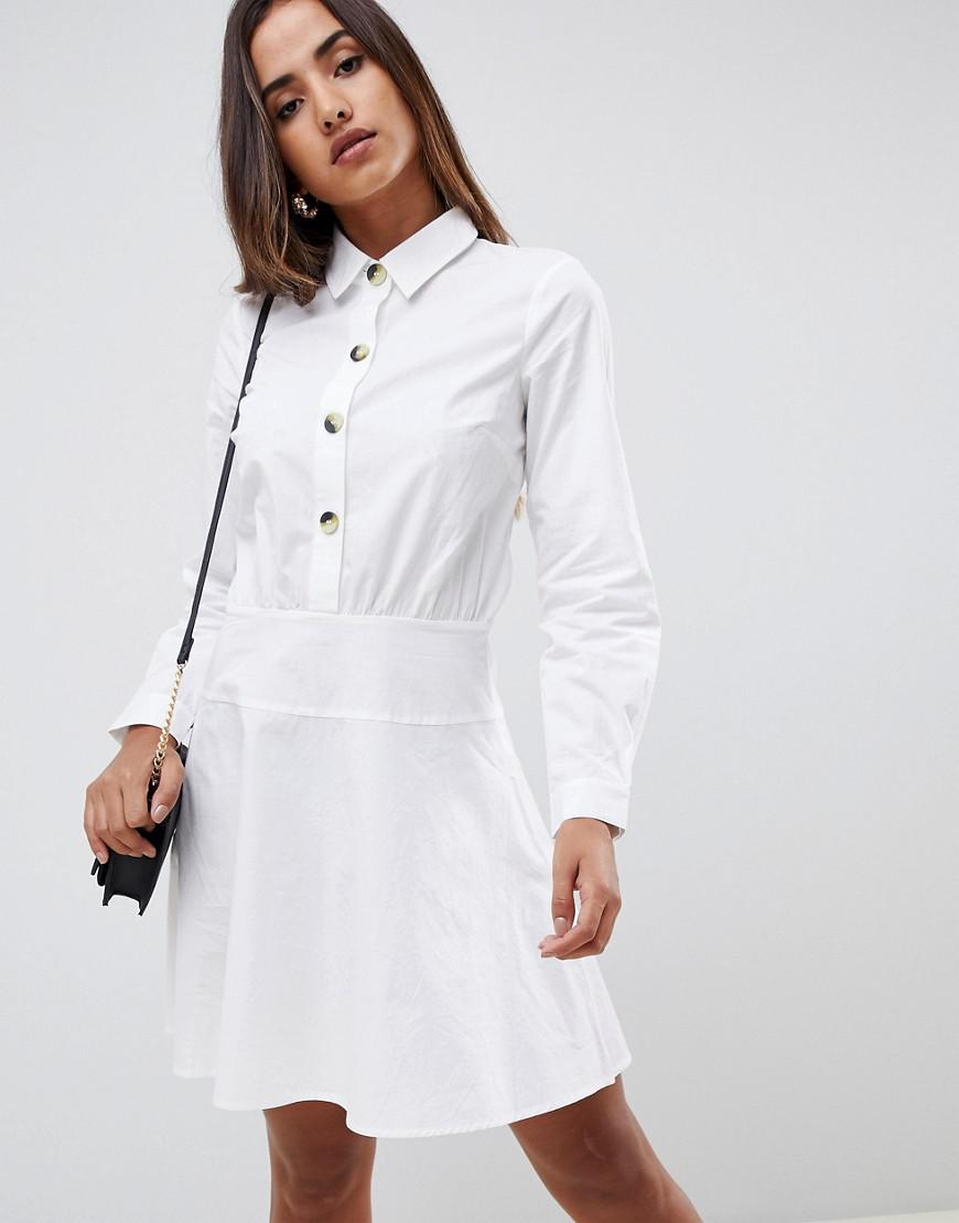 d794f3981f ASOS - White Cotton Mini Skater Shirt Dress With Long Sleeves - Lyst. View  fullscreen