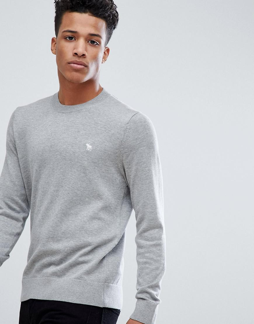 76ac08445 Abercrombie & Fitch. Men's Core Icon Moose Logo Crewneck Sweatshirt In Light  Gray Marl