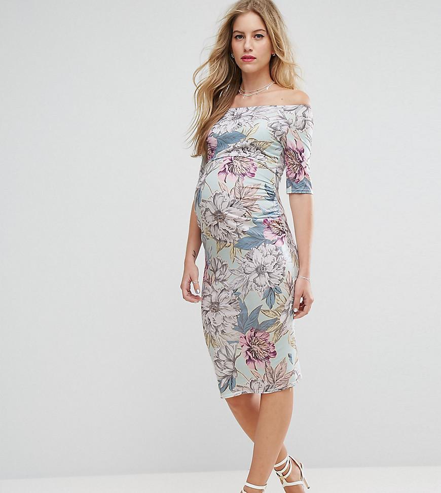 7728b7cbf8 ASOS Petite Half Sleeve Bardot Dress In Mint Base Floral Print in ...