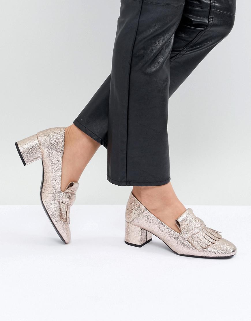MANGO Metallic Kitten heel Loafers 1KebcZyQDc