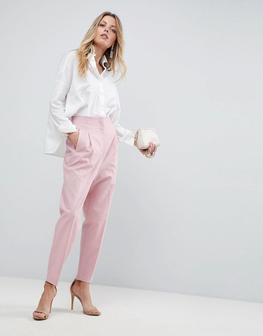 c0469f23b373 ASOS Asos Tailored Clean High Waist Linen Peg Pants in Pink - Lyst