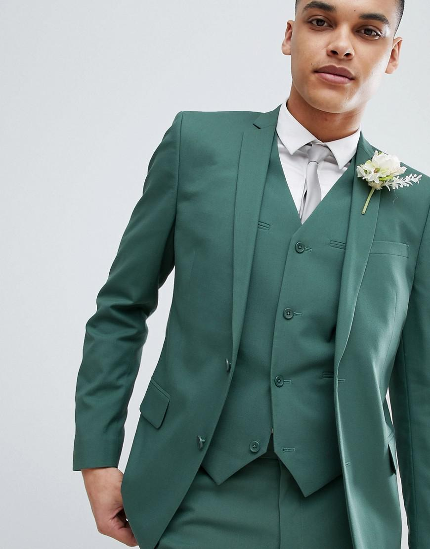 Lyst - Asos Design Wedding Slim Suit Jacket In Pine Green in Green ...