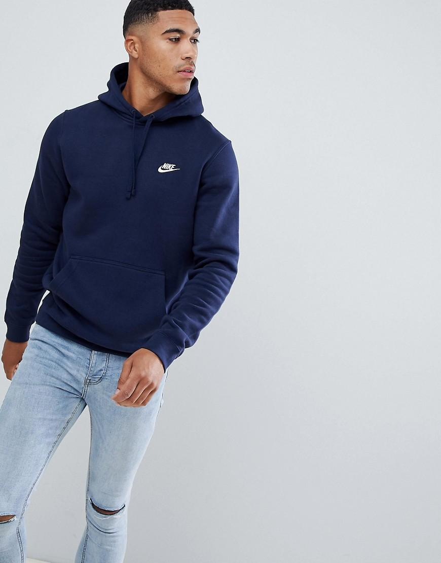 e0e35aa572f2d Nike - Blue Marineblauer Kapuzenpullover mit Swoosh-Logo