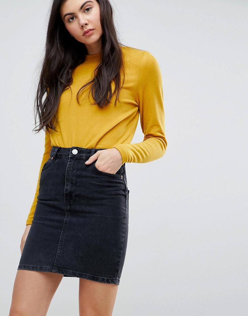 69b99af05 ASOS Denim Original High Waisted Skirt In Washed Black in Black - Save 52%  - Lyst