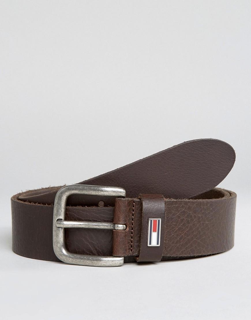 lyst tommy hilfiger denim leather belt with flag brown. Black Bedroom Furniture Sets. Home Design Ideas