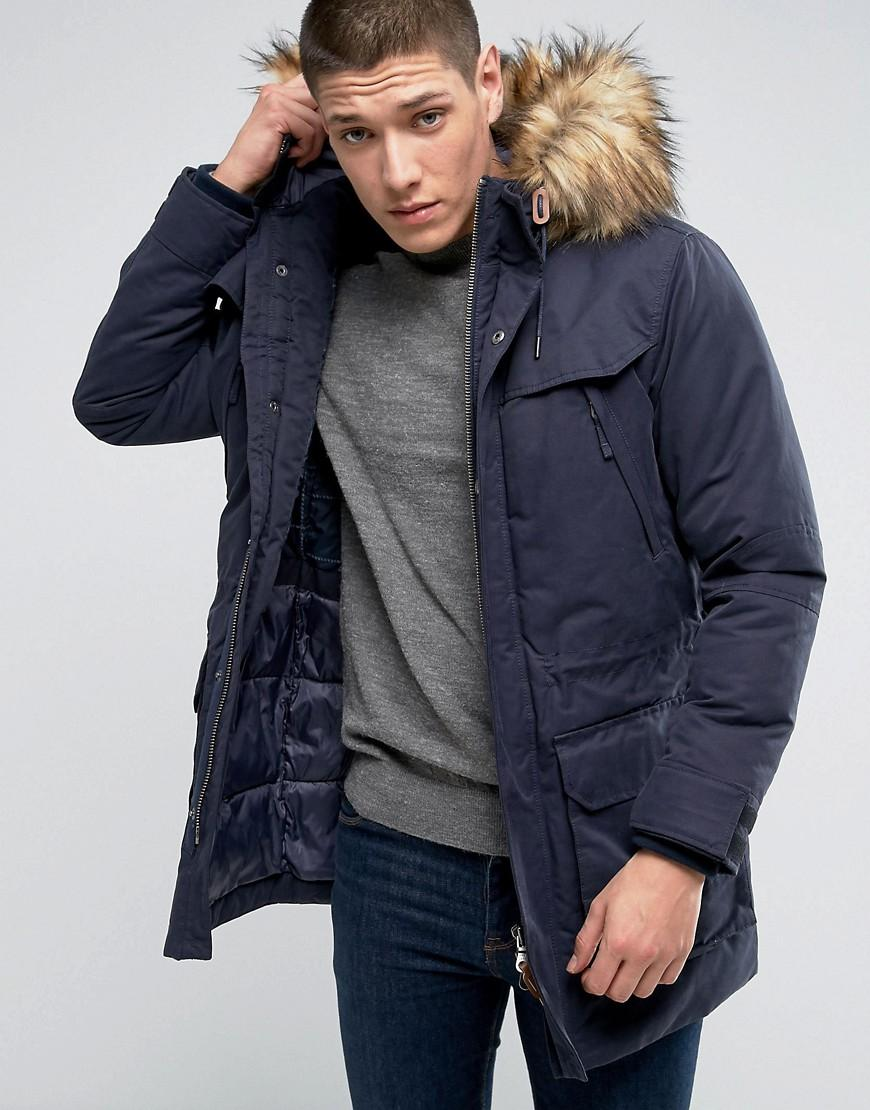 jack jones premium parka with fur hood in blue for men lyst. Black Bedroom Furniture Sets. Home Design Ideas