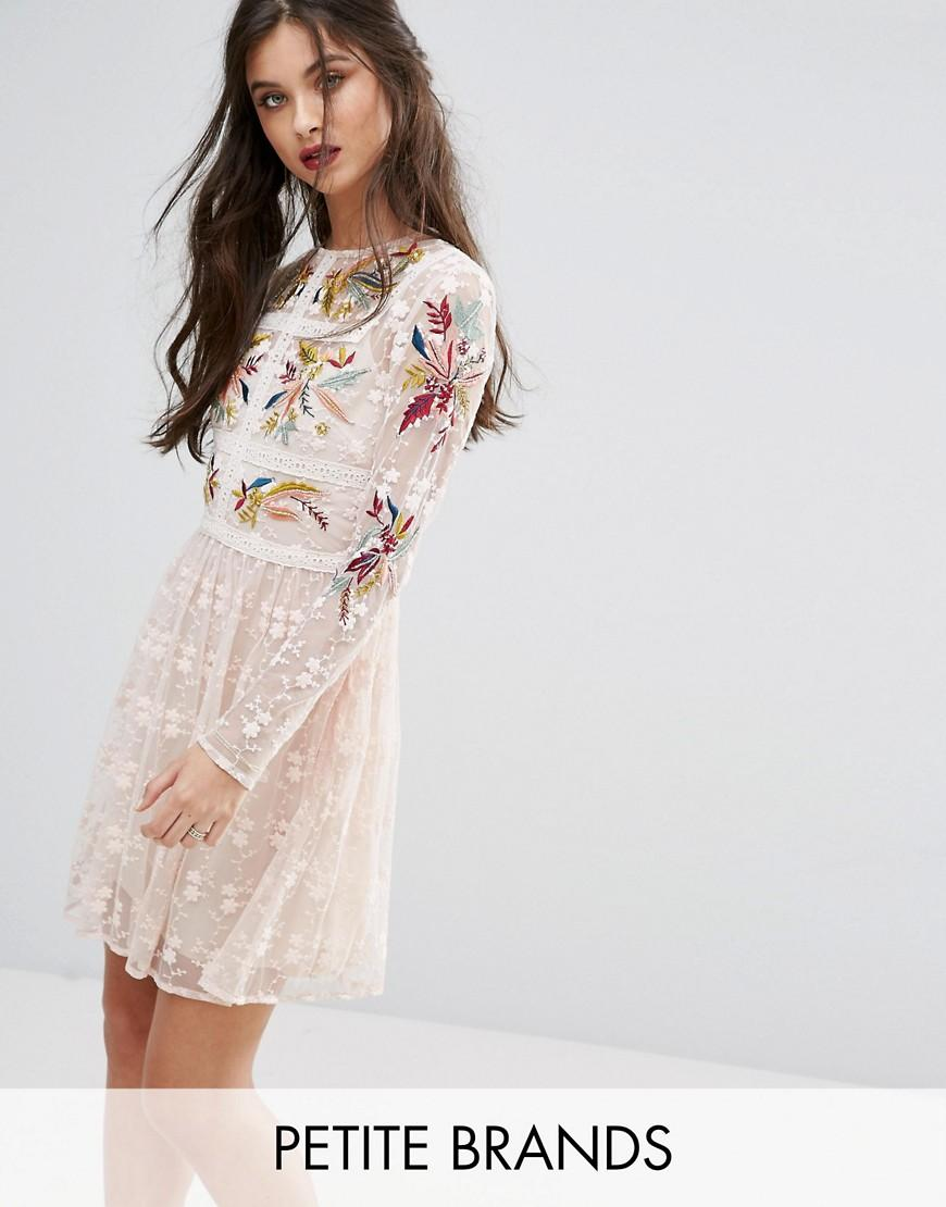 ...   Multicolor Premium Embroidered Lace Mini Prom Skater Dress   Lyst