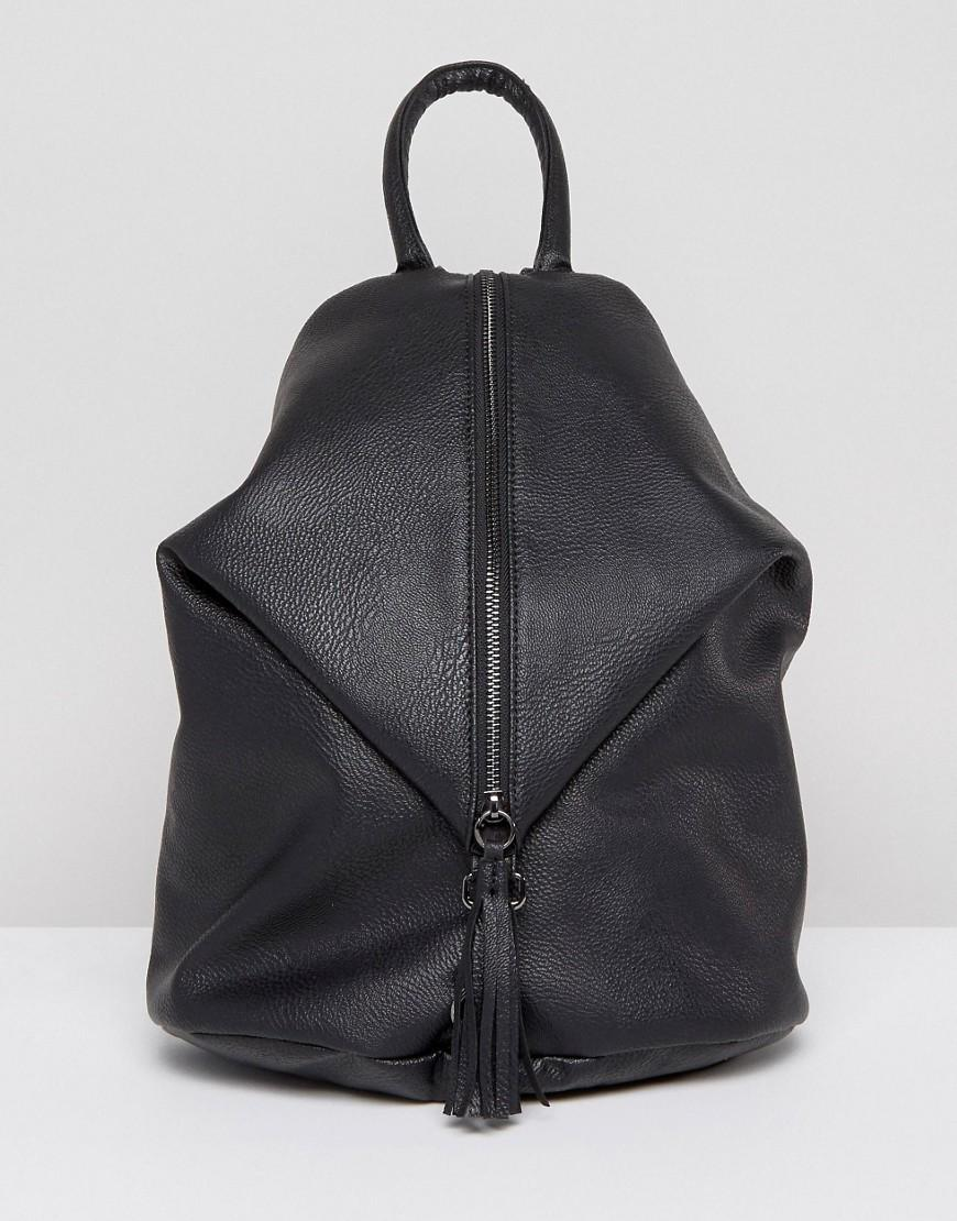 Asos Front Zip Backpack With Dog Clip And Tassel In Black