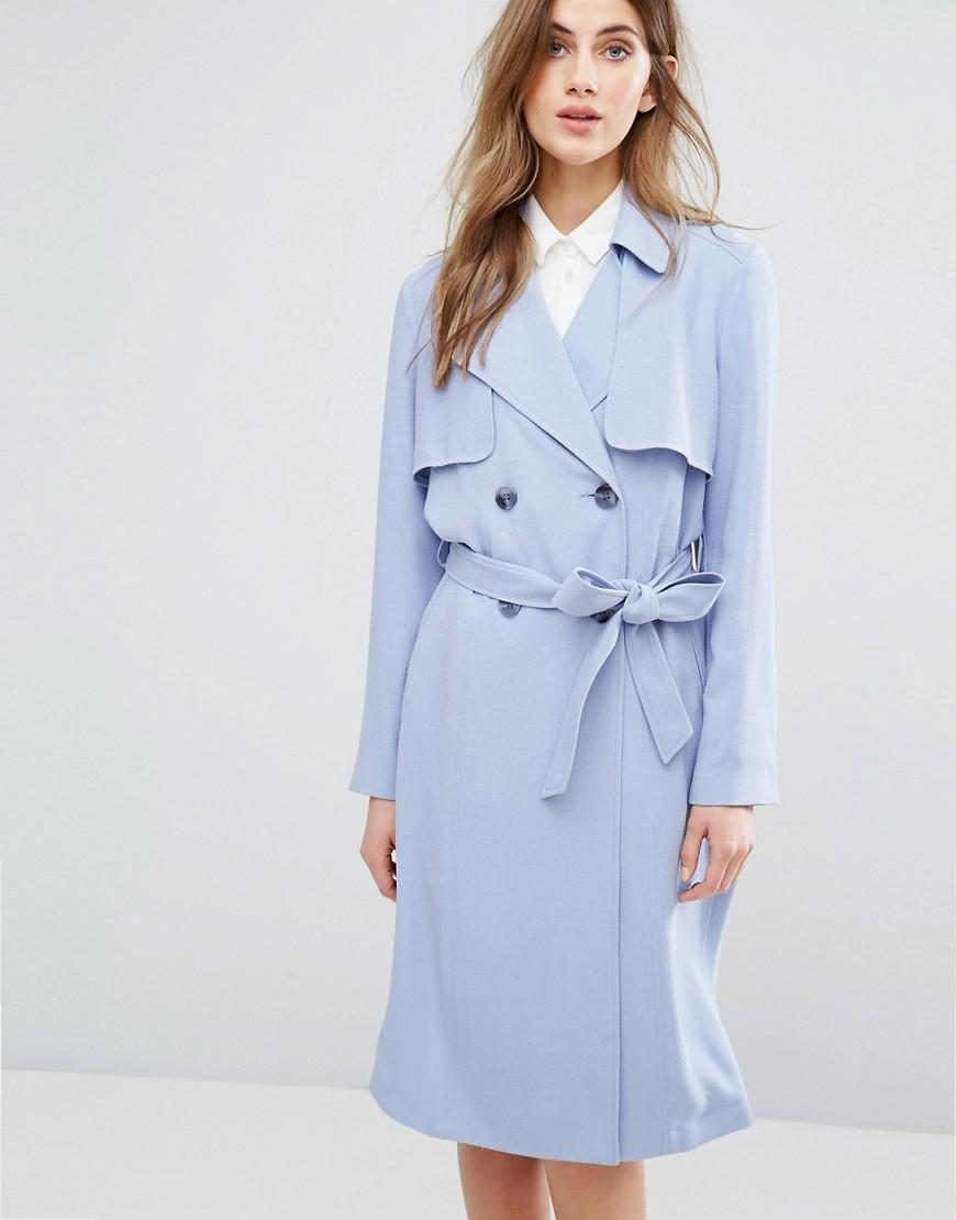 Miss selfridge Tie Front Trench in Blue