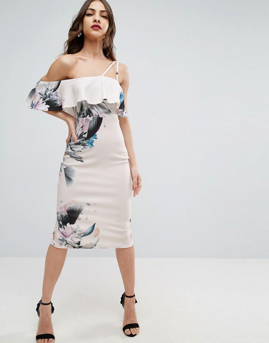 Asos Textured Cold Shoulder Ruffle Midi Dress In Pink Lyst - Asos women s floral textured ruffle off shoulder double strap midi dress