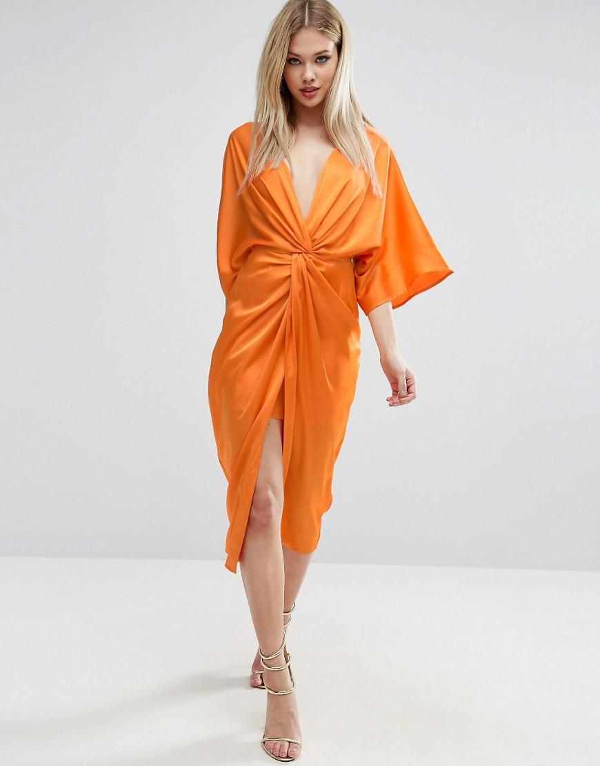 Asos Kimono Twist Front Midi Dress In Orange Lyst