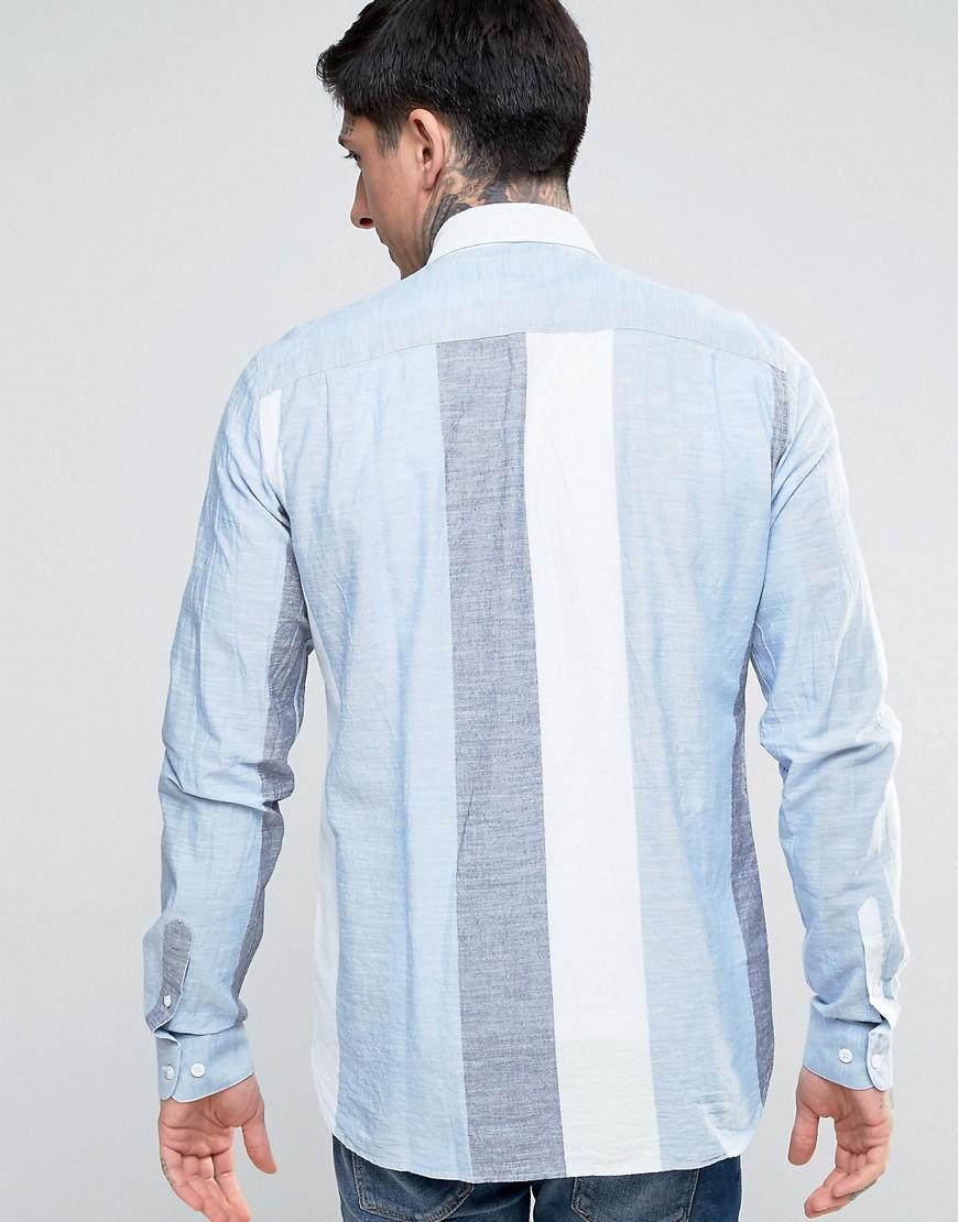 Lyst ymc wide stripe button down shirt in blue for men for Striped button down shirts for men