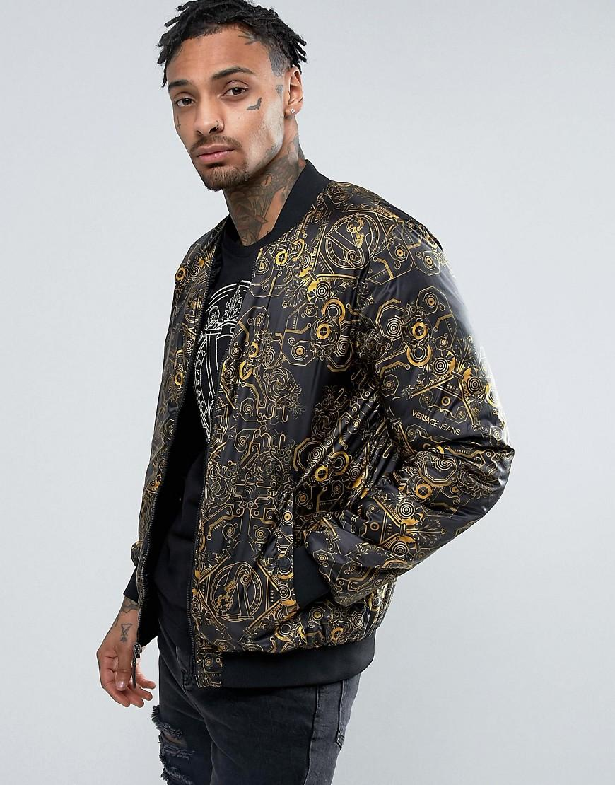 Versace Jeans Bomber Jacket With Mechanical Print In Black