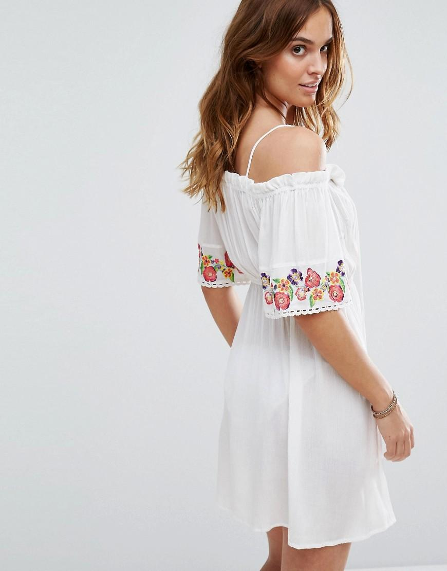 Lyst floozie off the shoulder embroidered beach dress in