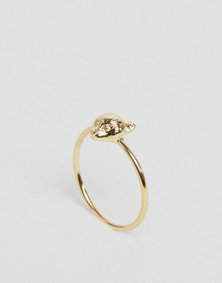 Orelia Gold Plated Fox Head Ring In Metallic Lyst