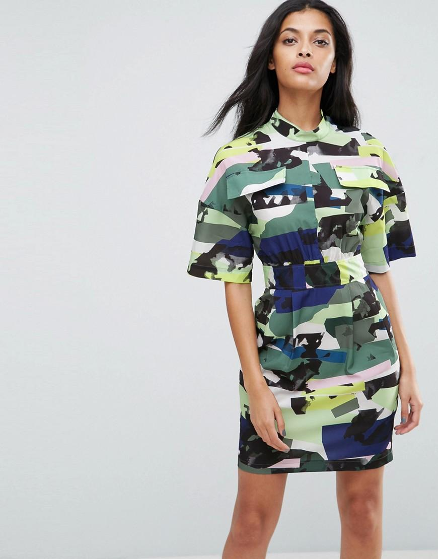 Asos utility dress in camo print in green lyst for Green camo shirt outfit