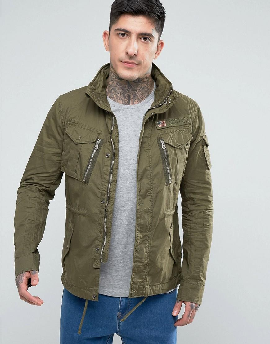 schott nyc squad military overshirt jacket concealed hood in khaki in green for men lyst. Black Bedroom Furniture Sets. Home Design Ideas