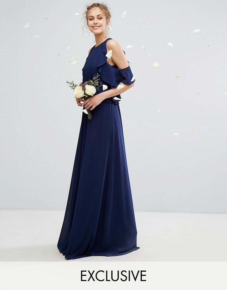 Tfnc london wedding frill detail maxi dress in blue lyst for Wedding dress with blue detail
