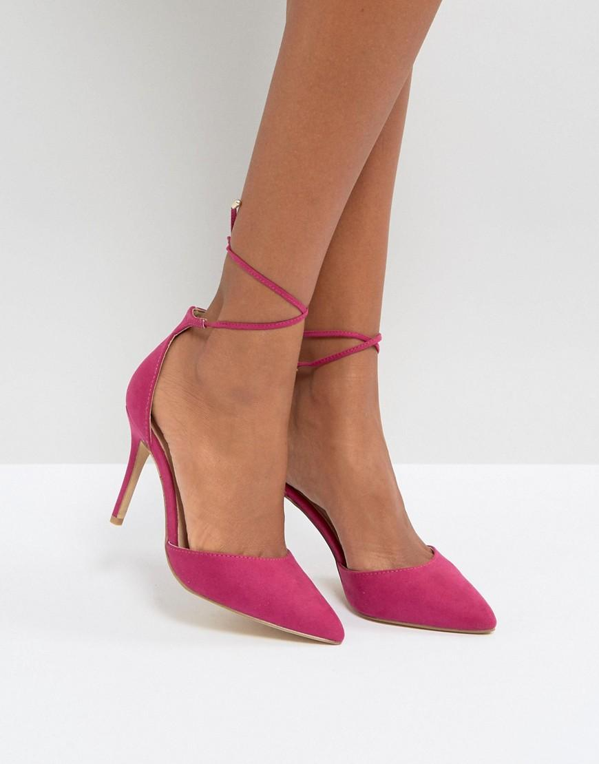 new look lace up heeled shoes in pink lyst