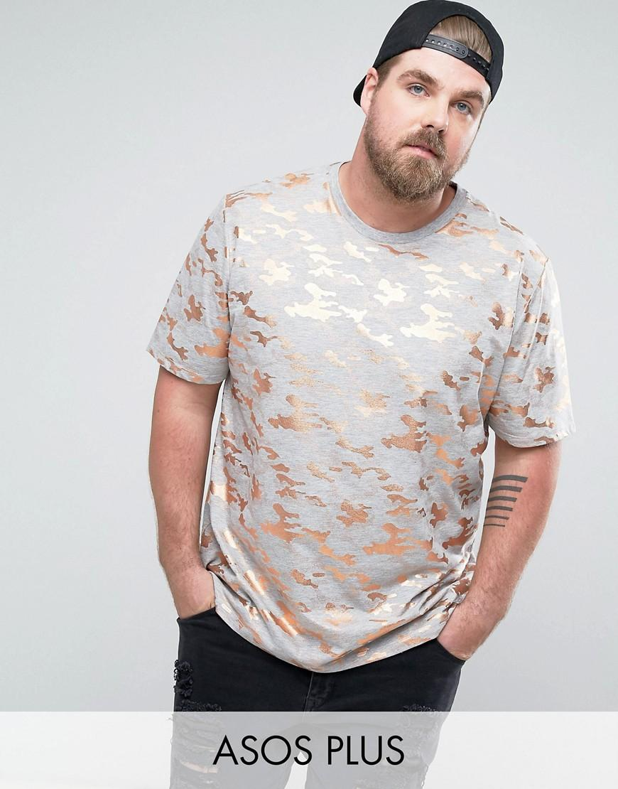 lyst asos plus longline t shirt in all over rose gold camo in gray for men. Black Bedroom Furniture Sets. Home Design Ideas