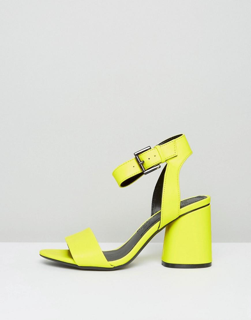 Bershka Neon Block Heeled Sandals In Yellow Lyst