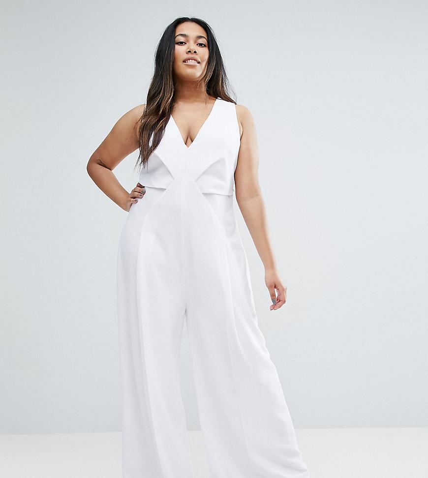 76651ef2079b Lyst - ASOS Jumpsuit With Origami Detail And Culotte Leg in White