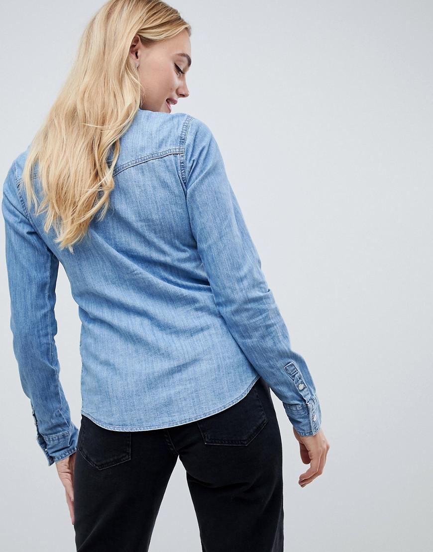 96d1398f ASOS Denim Fitted Shirt In Midwash Blue in Blue - Lyst