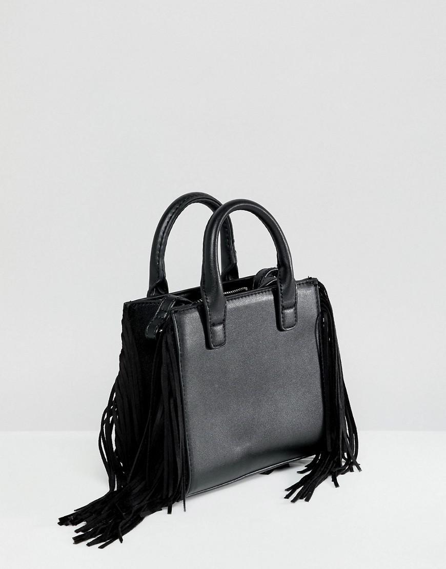 f9a33392fd Bershka Fringe Black Crossbody Bag In Black in Black - Lyst