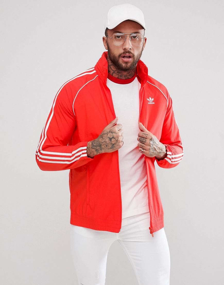 Lyst adidas Originals Adicolor Superstar Track chaqueta en rojo