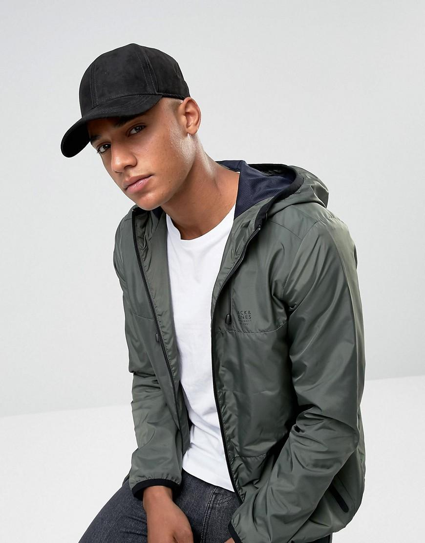 jack jones baseball cap in suede in black for men lyst. Black Bedroom Furniture Sets. Home Design Ideas