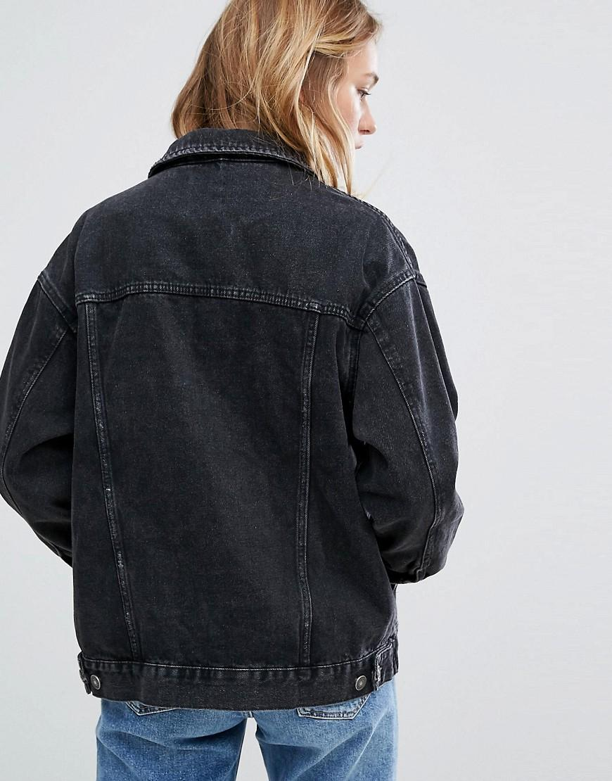 Bershka Oversized Denim Jacket in Black | Lyst