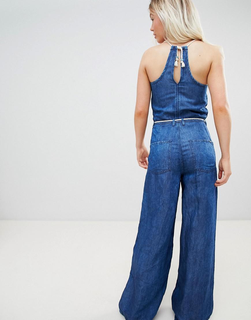3d75e99aff9 Pepe Jeans Flyer Retro Denim Jumpsuit in Blue - Lyst