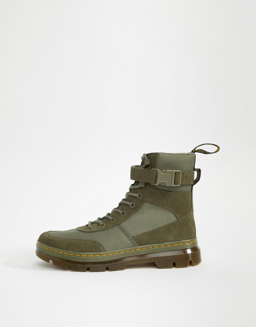 Dr Martens Combs Tech Tie Boots In Khaki In Green For Men